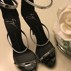 Black and silver strappy Giuseppe Sandals